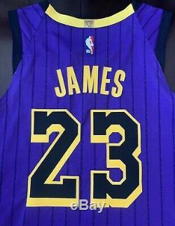 Lakers Lebron James Équipe Jersey Authentique Émis Cut Pro Portés Lore Series
