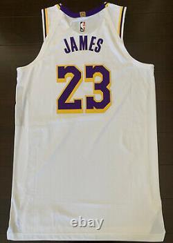 Lakers Lebron James Team A Publié Authentique Pro Cut Jersey Jeu Porté Blanc D'occasion 50