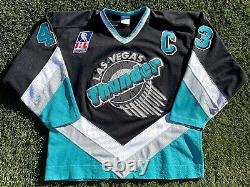 Las Vegas Thunder Vintage 1993-94 Jeu Porté Utilisé Authentique Ihl Hockey Jersey XL