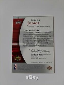 Lebron James 2005 Sp Authentique Jeu- Occasion Échauffement Sur La Carte Autograph 070/100