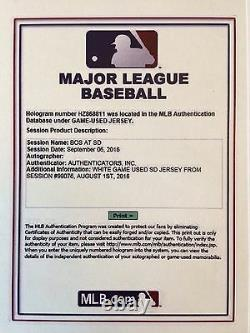 Mark Mcgwire Jeu Usagé Worn 2016 San Diego Padres Jersey Chapeau Chapeau Mlb Authentique