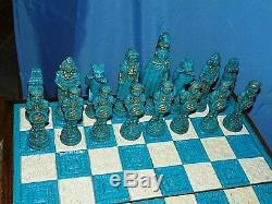 Mexicaine Authentique Jeu D'échecs Set- Aztèques Espagnol Conquistadors Sculpté