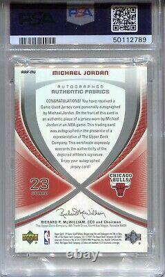 Michael Jordan Psa 10 2005 Ud Sp Jeu De Tissus Authentiques Jersey Auto / 23 Hof