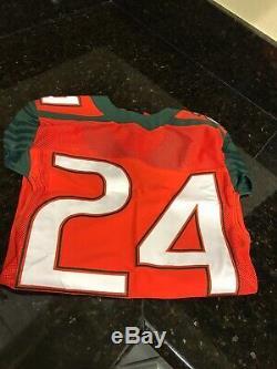 Nike Miami Hurricanes Jeu Utilisé Football Jersey Homer # 24 Sz. 38 Petit Authentique