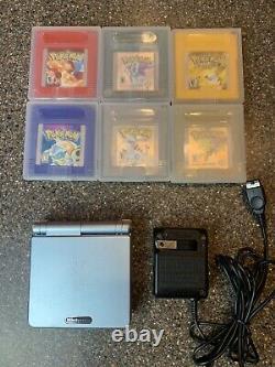Nintendo Gameboy Advance Sp Pearl 101 6 Jeux De Pokémon Authentiques Cristal Rouge Bleu
