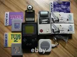 Nintendo Gameboy Lot Authentic Console 2 Jeux, Imprimante, Appareil Photo