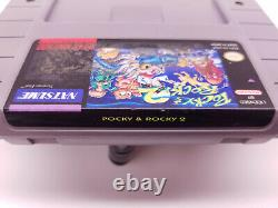Pocky Et Rocky 2 Super Nintendo Snes Authentic & Tested! Livraison Gratuite