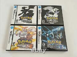 Pokemon Black/white/black2/white2 4 Jeu Nintendo Ds Bundle Authentic Testé