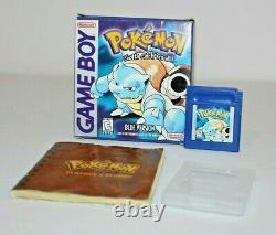 Pokemon Blue Version Nintendo Game Boy Complete Cib Avec Box & Manual Authentic
