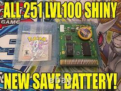 Pokemon Crystal All 251 Shiny Game Unlocked Authentic & New Battery