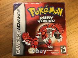 Pokemon Ruby Version Gameboy Advance Boxed Authentic American Jeu USA