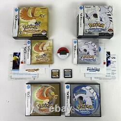 Pokemon Soulsilver & Heartgold Version Avec Big Box Pokewalker Authentic Cib