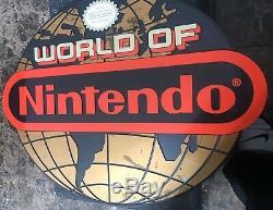 Rare Authentique World Of Nintendo Globe Sign Jeu Vidéo Magasin Afficher Nes Snes