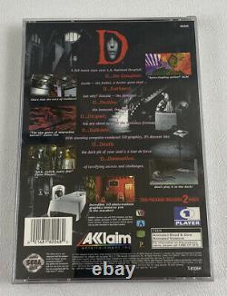 Rare Vintage D (sega Saturne, 1996) Jeu Authentique Complet Avec Reg Card Tested