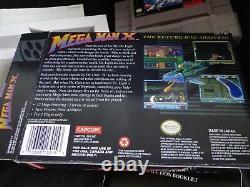 Snes Megaman X Super Nintendo Cib Complete Authentic Cart, Manuel, Poussière, New Box